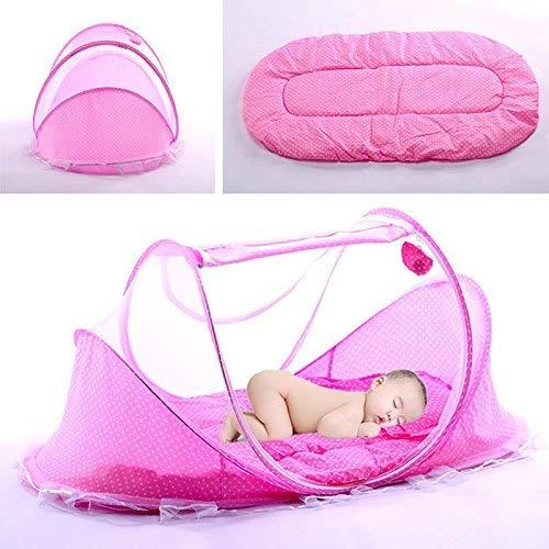 Sommer Moskitonetz für Kinder, Portable Folding Baby Reisebett Kinderbett Babybetten Neugeboren Faltbare Krippe für 0-3 Jahre - Rosa - Eine Baby-krippe