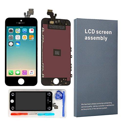 LEMANCA Écran LCD Display Vitre Tactile Numérique Remplacement pour Montage Complet avec Kit d'Outils De Réparation (4.0 Pouces) + Protection d'écran pour iPhone 5 (Noir)