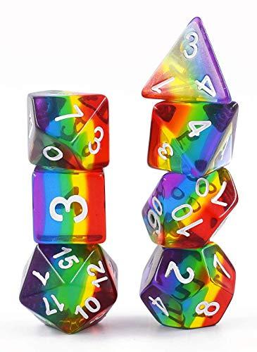 WIVION Transparente Regenbogenwürfel Polyedrische Würfel-Sets für Dungeons und Drachen MTG-Rollenspiel, einschließlich polyedrischer DND-Würfel für Dungeons und Drachen RPG-Tischspiele