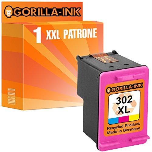 Gorilla-Ink 1x Druckerpatrone remanufactured für HP 302 XL Color mit Füllstandsanzeige und 163% mehr Inhalt! Officejet 3800 Series 3830 3831 3833 3834 3835 -