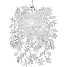 minisun preciosa pantalla para lmpara de techo con flores y plantas color blanco