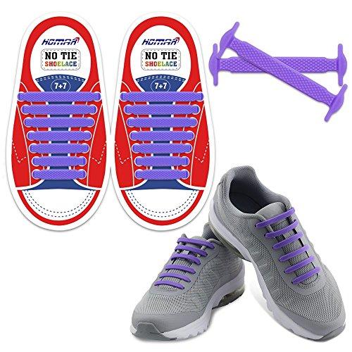 Homar no tie lacci per scarpe per bambini e adulti - impermeabile in silicone elastico piatto laces athletic scarpa da corsa con multicolore per scarpe sneakerboots bordo e scarpe casual (kid size purple)