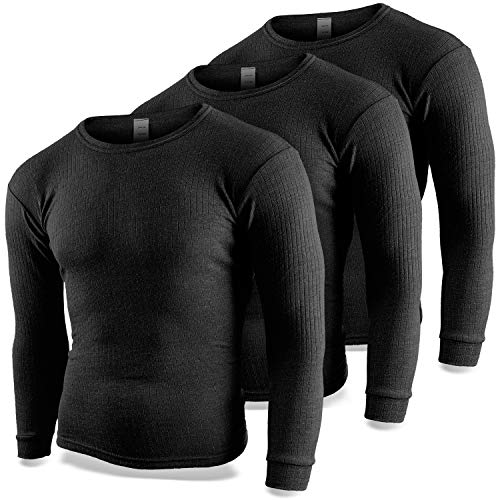 Black Snake Thermounterhemd Herren 3er Pack | Thermo Unterhemd mit Innenfleece | 3 Stück langarm Thermohemden - Anthrazit - 6/L