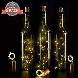 9x 20 LED Flaschen-Licht, Ohadani Flaschenlichter Lichterketten Nacht Licht Weinflasche Flaschenlicht Kork Flaschen Licht LED Lichter Lichterkette Flaschen DIY- 39 inch-[12pcs Kostenlos Batterien als Geschenk],warm weiß