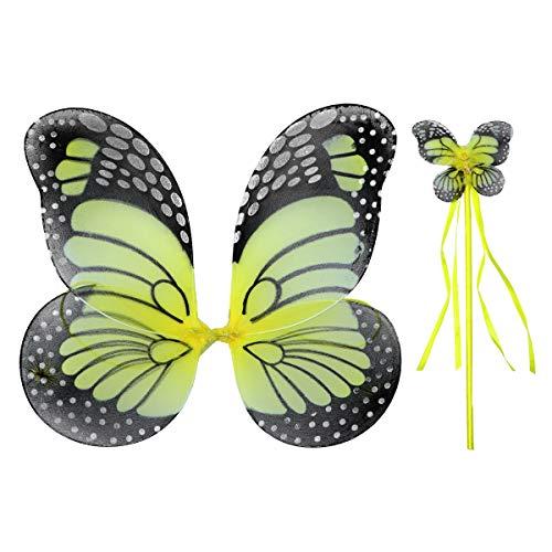 Fenical Schöne Engel Schmetterling Elf Flügel Wunderkerzen Glitter Fairy Cosplay Kostüm Set Halloween Kostüm für Kinder Mädchen (Flügel und Fairy Stick)