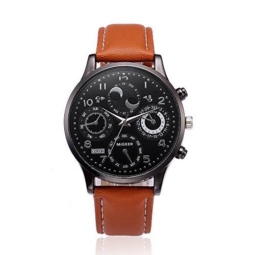 Altsommer Business Männer Uhr mit DREI Kleinem Zifferblatt, Sport Watch mit 19mm Lederarmband für Damen Herren,Quartz Analog Uhren,Casual Sport Armband Uhr, 22 cm Bandlänge (Braun)