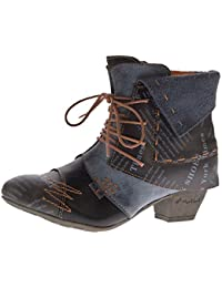 TMA Damen Stiefeletten Echtleder Knöchel Schuhe Leder Boots Trichterabsatz 6106 Rot Grün Schwarz Weiß Gr. 36-42