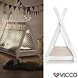 Vicco Kinderbett Tipi Kinderhaus Indianer Zelt Bett Kinder Holz Haus Schlafen Spielbett Hausbett 80x160 (Weiß)