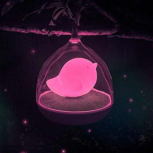 Hivel Tragbar USB Aufladbar LED Nachtlicht Vogelkafig Lampe mit Vibration Touch Sensor Nachladbare Birdcage Nachtlampe Intelligent Dimmbare Wiederaufladbare Vogelbauer Nachttischlampe fur Kinder Baby Valentines Halloween Weihnachten Geburtstag - Rose Vogel (Touch-lampe Rose)