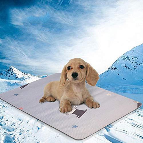 Volwco Selbst Kühlmatte für Hunde, Selbstkühlendes Haustierkissen Für Hunde Katzen Pet Cooling Pad, Sommerkühle Atmungsaktive Ice Silk Vine Kühlkissen für Zwinger/Sofa/Bett/Boden/Autositze Kühlung -