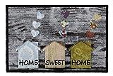 Unbekannt Schmutzabstreifer - Fussmatte - Fussmatte Fussabstreifer Sauberlaufmatte/Türfußmatte / Fußabstreifer/Fußabtreter grau Home Sweet Home - Häuser - ca. 50 x 75 cm
