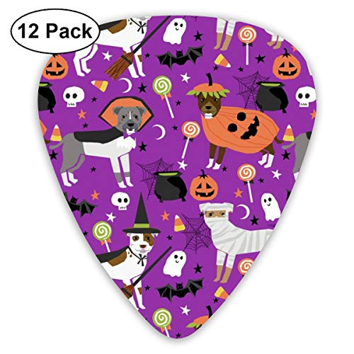 Pitbull Halloween Costume Dog - Cute Dogs In Costume Halloween Design Candy Corn, Candy, Funny Pet- Purple Classic Celluloid Picks, 12-Pack, For Electric Guitar, Acoustic Guitar, Mandolin, And Bass (Halloween Cupcakes, Candy Corn)
