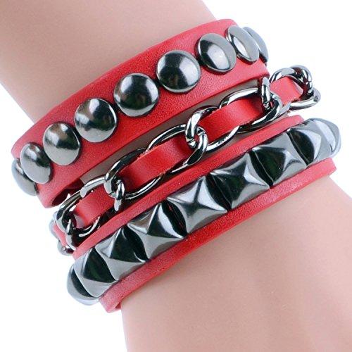 Multi strand braccialetto Wrap intrecciato in pelle Bracciale in vera pelle braccialetto Wrap amici regali 4 colore rosso