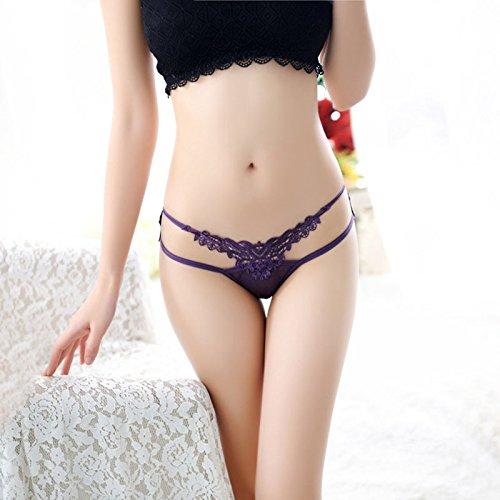 QPLA@T-back Unterhosen Schlüpfer Niedrige taille Slip Damen Unterwäsche Tangas,White One Size Purple One Size
