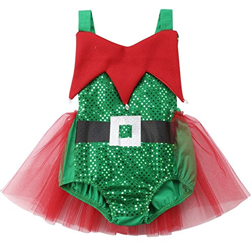 BriskyM Infant Baby Kleinkind Mädchen Weihnachten Elf Tutu Strampler Halloween Cosplay Kostüm (Grün, 2-3 Year)