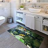 CCNIU 3D Fisch Bodenaufkleber Persönlichkeit Wohnkultur Schlafzimmer Wohnzimmer Badezimmer Rutschfeste Bodenmatte Aufkleber 60 * 120 cm