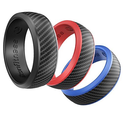 Ikonfitness 3er Silikon Ring, Gummi Ehering, Hautfreundlich Ring, Herren Silikonring für Reisen, Arbeit, Sport mit Geschenkbox (Schwarz, Blau, Rot) (10) (Für Hochzeit Ringe Männer Gummi)