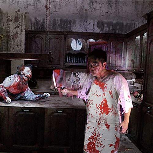 ürze, Halloween Abendkleid Zombie Chef Blutige Splatter Schürze Backen Küche Chef Cook Metzger Kostüm Party Geschenk ()