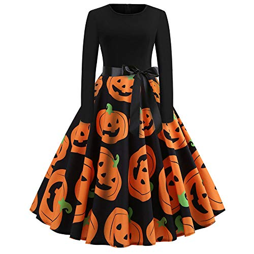 OverDose Damen Happy Halloween Frauen Langarm O Hals Druck Vintage Kleid Party Clubbing Karneval eleganten Kleid Rock(Orange ,XL)