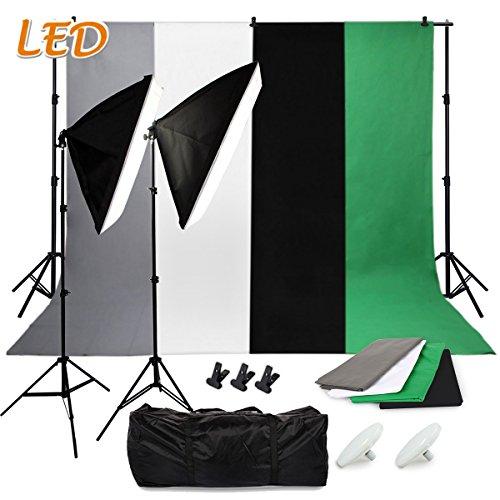 SBARTAR - Fotostudio Set Studioleuchte Studiosets inkl. 4X Hintergrundstoffe schwarz weiß grün grau 2 * 2M Hintergrundsystem 2X 50 * 70CM Softbox 2X LED Fotolampe 3X Studioklemmern 2X Tragtasche