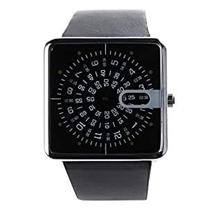 YESURPRISE New Modern Designer Moving Series Leather Square Quartz Watch - Black Jump Hour