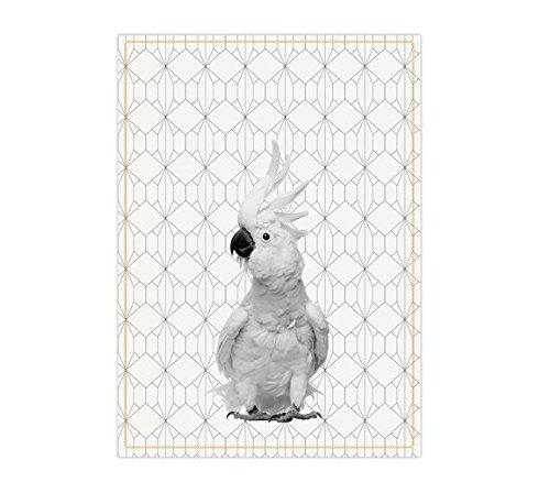 PT Present Time - Geschirrtuch - Küchentuch - Kakadu - Papagei - ockergelb - 100% Baumwolle 50 x 70 cm (100 Geschirrtücher Leinen)