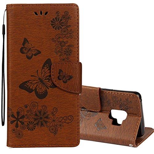 JiuRui Zubehör Samsung Galaxy S9 Vintage Geprägte Floral Schmetterling Muster Horizontale Flip Ledertasche mit Kartensteckplatz & Halter & Brieftasche & Lanyard (Großauswahl : Sas1302z)