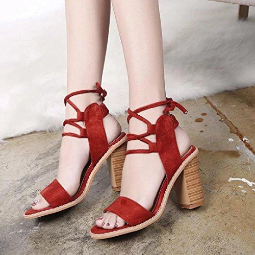 Vovotrade Adatti a donne cinghie molla sandali delle donne pompe degli alti talloni Pattini Femminili Vino