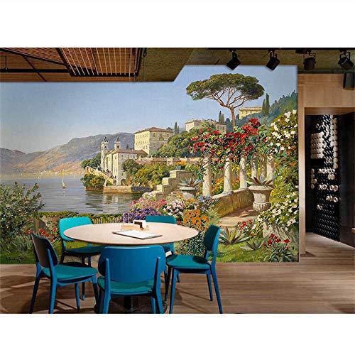 Xzfddn 3D Wallpaper Wandbild Dekor Foto Hintergrund Tapete Retro Schloss Landschaftsmalerei Wandbild Malerei Für Wohnzimmer 3D Wallpaper-400X280Cm
