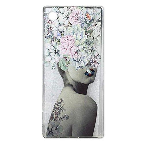 Sony Xperia XA1Case, Crystal Clear Schutzhülle mit Design Violett Rose Blumen Muster Print Bumper Schutzhülle für Sony Xperia XA1TPU Silikon Schutzhülle Blumen Cover für Mädchen, Beauty Women (Boost Sony-handys Mobile)