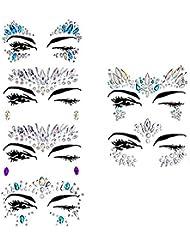 Visage Gemmes, Ynredee 6 Set Femmes Sirène Rave Festival Glitter, Strass Tatouage Temporaire Visage Bijoux Cristaux Visage Autocollants Sourcil Visage Corps Bijoux