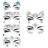Face Gems, Ynredee 6 Set Women Mermaid Rave Festival Glitter, Rhinestone Temporary Tattoo Face Jewels Crystals Face Stickers Eyebrow Face Body Jewelry