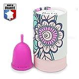 DoctiCup - Coupe Menstruelle - Made in France - Silicone Médical Hypoallergénique - Petite Cup - avec Pochette de Rangement (Taille S: Maïa) Rose