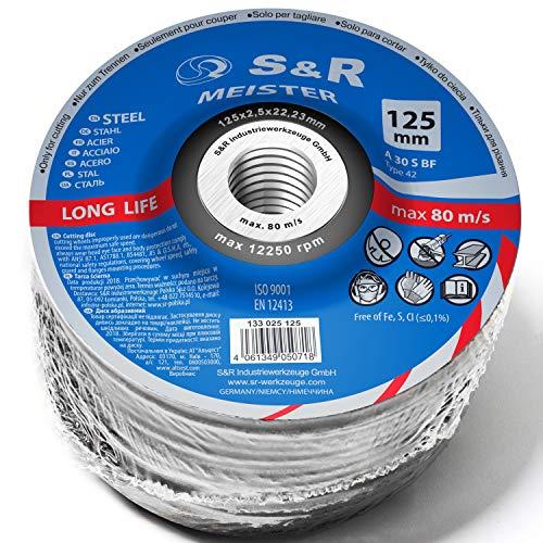 S&R Trennscheibe für Metall, Stahl, hochlegiert 125 x 2,5 x 22,23 mm A30 S-BF. Set 20 Stück, für Winkelschleifer