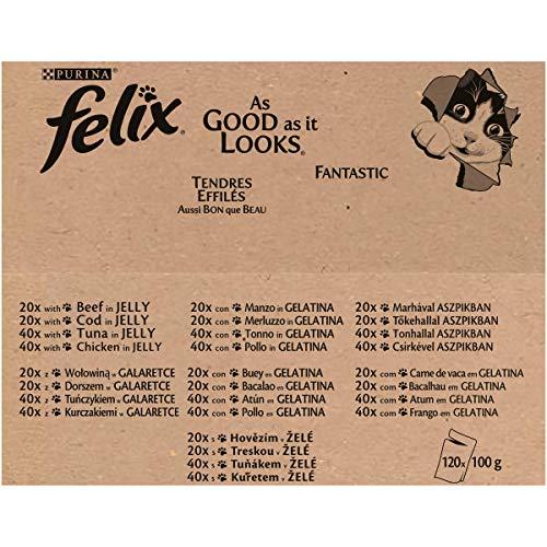 Felix So gut wie es aussieht in Gelee mit Rind, Huhn, Kabeljau und Thunfisch, Katzenfutter (120 x 100g Beutel) - 2