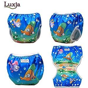 Luxja Riutilizzabile Pannolini da nuoto (Confezione da 2), Costume Pannolino Lavabili, Impermeabile Pannolino Piscina (0-3 anni), balene e pesci