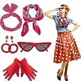 Yansion Lot d'accessoires de déguisement style années 50, écharpe, œil de chat,...