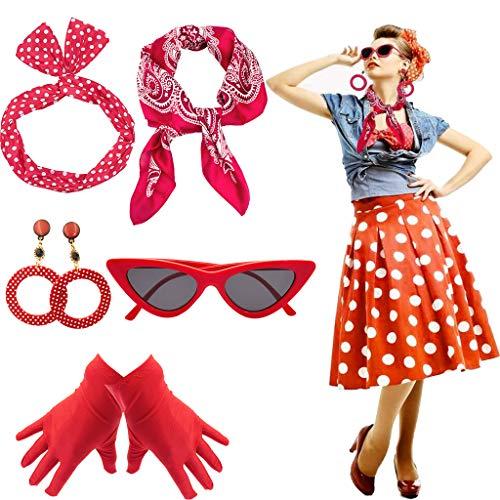 Yansion 50er Jahre Kostüm Accessoires Damen 1950s Zubehör Set Inklusive Polka Dots Bandana Haarband Ohrringe Handschuhe Katzenaugen Sonnenbrille - Rote Kostüm Zubehör