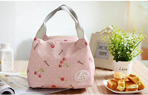 Mittagessen Tasche Isolierte Picknick Tasche auslaufsicher Lebensmittel Tasche Insulated Reisen Handtasche Kühltasche Isoliertasche (Rosa)