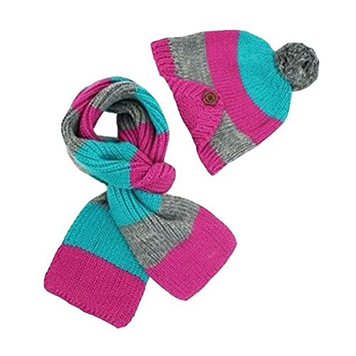 Landsell Kinder Jungen Mädchen Warme Strick Cap + Schal Set Winter Soft Lovely Kleinkind Kinder 'S SKI Slouch Mütze Schal