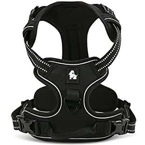 fiE FIT INTO EVERYWAY No Pull Dog Harness Outdoor Adventure 3M Reflective Pet Vest with Handle Adjustable Protective Nylon Walking Pet Harness (Black M)