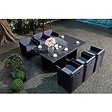 Mon Usine LSR-310-BK/GR 6C Le Vito Salon jardin encastrable en résine Noir 180 x 115 x 73 cm