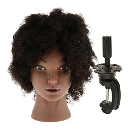 Homyl Cheveux Réel de Humains Têtes d'Exercice avec Pince de Support Cosmétologie Mannequin Tête Femme Afro à Coiffer Coiffure Styling