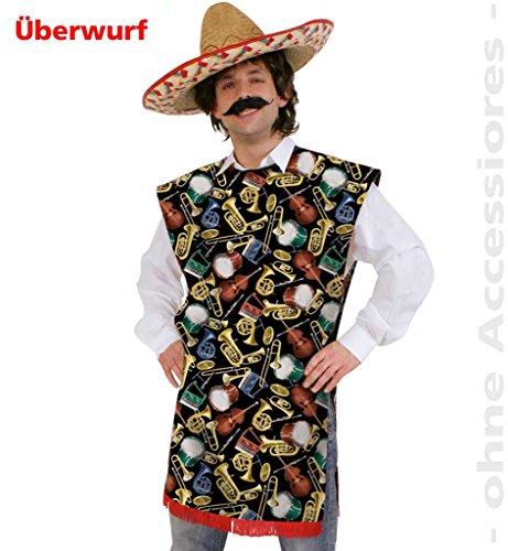 Mariachi Mann Kostüm (Männer-Kostüm Mexikaner-Poncho Überwurf Mariachi bunt)