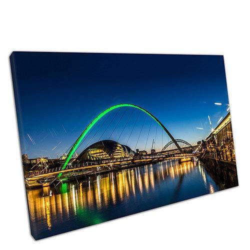 EACanvas City of Newcastle Green Millennium Eye Bridge Gateshead Quayside The River Tyne, A4-12 x 8 Inch