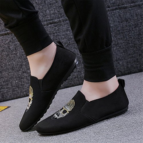 HUAN Hommes Casual Chaussures 2018 Nouveaux Pois Chaussures Broderie Mocassins Plat Mode Confort Printemps et Été B