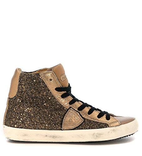 Sneakers Philippe Model Classic High in glitter cuoio e pelle taupe Oro