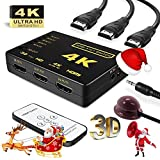 Pruthvik™ HDMI Switch 4k with IR Remote Intelligent Mini HDMI Selector Switcher Box 5 Port, Supports 4K, Full HD1080p 3D - 2 - Year Warranty with Pruthvik Enterprise