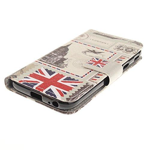 Custodia Galaxy J3 2017, ISAKEN Flip Cover per Samsung Galaxy J3 2017, Elegante borsa Bookstyle Design Flip Caso in Sintetica Ecopelle PU Pelle Protettiva Portafoglio Wallet Case Cover con Supporto di Busta Londra