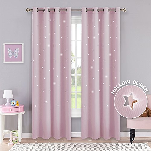 Pony dance tende sole bambini neonati ragazze finestre soggiorno termiche antimoche con stelle vuote rosa chiaro/drappeggi per interni salotto moderni cameretta, 132 x 210 cm (l x a), 2 panelli